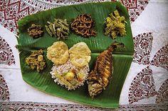 Banana leaf thali. Indian traditional style of servinng food on banana leaf.