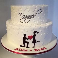 engaged cake silhouette heart - Google Search