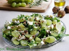 winogrona z serkiem pleśniowym i rukolą Food Design, Potato Salad, Grilling, Food And Drink, Healthy Recipes, Vegetables, Cooking, Ethnic Recipes, Impreza