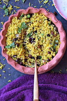 Aromatic Turmeric Pilaf with Black Chana - Cookilicious - Turmeric Pilaf with Black Chana is an easy, aromatic and tasty one pot Indian rice pilaf cooked with mild spices, turmeric powder and protein rich black chana.