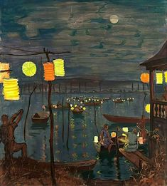 Art And Illustration, Nocturne, Hans Thoma, Pintura Exterior, Art For Art Sake, Paper Lanterns, Art Plastique, Summer Nights, Chinoiserie