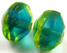 Old Rare Yellow/ Aqua Green VASELINE Glass African Trade Beads Well Matched Pair