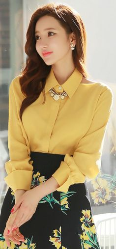 StyleOnme_Shoulder Cut-Out Collared Blouse #cutout #yellow #springtrend #koreanfashion #feminine #blouse #kstyle #elegant #dailylook