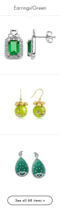 """""""Earrings/Green"""" by thesassystewart on Polyvore featuring jewelry, earrings, green, gem stud earrings, sterling silver infinity earrings, green earrings, sterling silver stud earrings, sterling silver gemstone earrings, charm jewelry and charm earrings"""