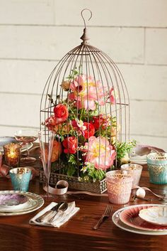 Birdcage Centerpiece - Boho Botanical Bridal Shower - Rustic Garden Party Theme Crazy Bird Lady ( Me) loves this! Decoration Evenementielle, Decoration Bedroom, Table Decorations, Rustic Garden Party, Rustic Gardens, Garden Parties, Wedding Reception Decorations, Wedding Centerpieces, Wedding Receptions
