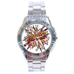 Comic Book LOVE! Stainless Steel Men s Watch by ComicBookPOP