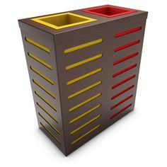 AURIGA Rectangular Recycling Trash Can with 2 Bins, Brown
