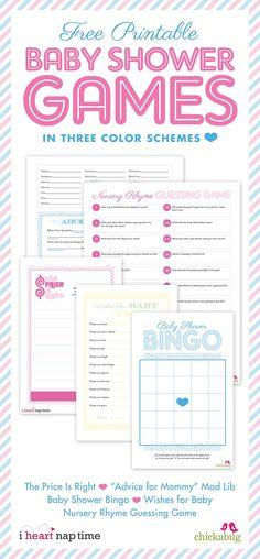 FREE printable baby shower games from Chickabug and I Heart Naptime!