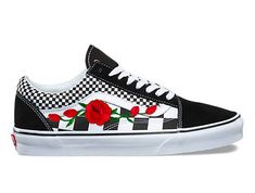 "I Have Other Colors. Check My Shop Custom embroidered, Vans custom sneakers, floral sneakers, Womens sneakers, flower Vans, red rose Vans, patterned sneakers, embroidered Vans • Shoe: ""NEW"" Checkred Vans 100% Authentic • Size: Women/Men/Youth available • Design: Rose Embroidered"