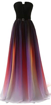 A chiffon gown with a gradient design that looks like the work of a professional painter. | 29 Formal Dresses You Can Get On Amazon That You'll Actually Want To Wear