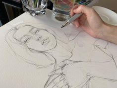 """Ksu on Instagram: """"SELFPORTRAIT I think this pencil looks too big 😂 Мне кажется этот карандаш выглядит большеватым 😂 автопортрет, карандаш, бумага"""" Drawing Process, Process Art, Drawing Skills, Drawing Ideas, Pencil Art, Pencil Drawings, Eye Drawings, Portrait Drawing Tips, Portrait Watercolour"""