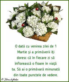 O dată cu venirea zilei de 1 Martie și a primăverii îți doresc că în fiecare zi să înflorească o floare în viață ta. Să ai o primăvară minunată din toate punctele de vedere. Feta, Cheese, Handmade, 8 Martie, Hand Made, Handarbeit