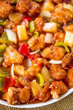 """""""Sweet and Sour Chicken with crispy chicken, pineapple and bell peppers that tastes just like your favorite takeout place without the food coloring. Sweet and Sour Chicken is a classic Chinese takeout option most of us are too afraid to make at home"""" Easy Chinese Recipes, Asian Recipes, Healthy Recipes, Eat Healthy, Easy Appetizer Recipes, Dinner Recipes, Soup Recipes, Dessert Recipes, Sweet Sour Chicken"""