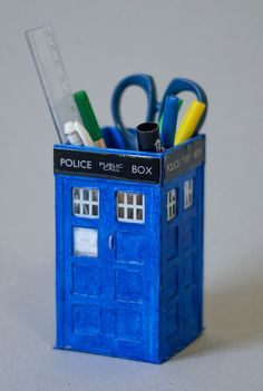 Tardis pencil case Dr. Who DIY craft
