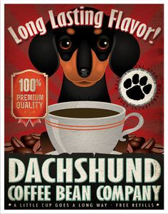 Dachshund Coffee Bean Company Original Art by DogsIncorporated, $29.00