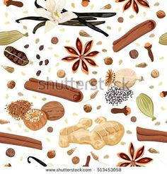 Backing spices seamless pattern. Bunch of cooking seasonings. For culinary, cosmetics, bakery, bake shop, bakehouse, natural health care products. Can be used as textile, packing, wrapping