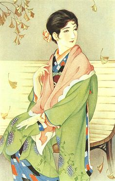 Japan antique art. illustrator / Kasyou Takabatake.   kimono beauty lady. last years of the taisyou period / early Showa period.