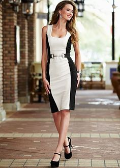 "Ivory Multi (IVMU) Color Block Sheath Dress $24  The inspiration of this equestrian detailed dress will make you the in vogue woman to remember. · 	 Attached belt with D-ring snaffle detail   · 	 26"" in length from natural waist   · 	 60% Viscose, 35% poly, 5% elasthane   · 	 Imported  · 	Style #Z28384"