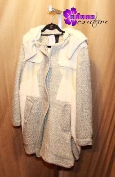 Amazing heavy jacket with grey and white mix colors $220 zippers on side (size M) Blush Couture Atlanta