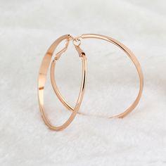 Popular Rose Gold Plated Big Large Smooth Circle Hoop Earrings