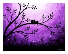 Family of birds on tree Landscape original Acrylic Painting- Home wall decor Artwork - Purple Modern Contemporary Abstract Canvas Art by SKArtzGallerE-- this is so cute! But for my house I would make it a family of opossums hanging from the tree :) Art Diy, Ouvrages D'art, Bird Artwork, Easy Paintings, Canvas Paintings, Bird Paintings, Abstract Paintings, Landscape Paintings, Painting Inspiration