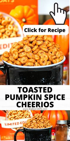 Love Pumpkin Spice? These Toasted Pumpkin Spice Cheerios are perfect for snacking and so quick to make! An easy vintage treat with a pumpkin spice twist! Turn the popular Cheerios pumpkin spice cereal in a fun a tasty snack that's great for Thanksgiving or for just snacking on while you watch your favorite Halloween movies!
