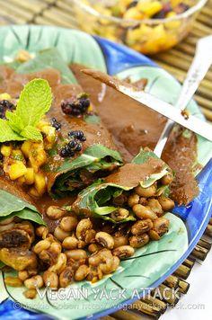 #Healthy Black-Eyed Pea Enchiladas with Mole Sauce & Mango Mint Salsa
