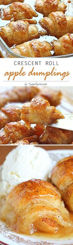 Roll Apple Dumplings by Sugar Apron and other great Thanksgiving dessert Recipes!Crescent Roll Apple Dumplings by Sugar Apron and other great Thanksgiving dessert Recipes! Crescent Roll Apple Dumplings, Crescent Roll Recipes, Apple Crescent Rolls, Cresent Rolls, Stuffed Crescent Rolls, Apple Pie Dumplings, Crescent Roll Appetizers, Crescent Roll Breakfast, Pilsbury Crescent Recipes