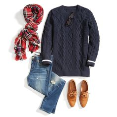 For a cold-weather weekend look, opt for a classic cable knit sweater with distressed denim & a plaid blanket scarf for an extra cozy factor.