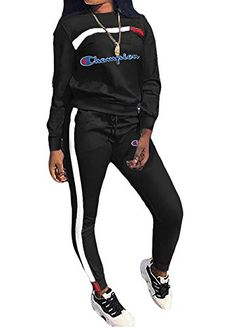 d395b4a80f Women s Long Sleeve 2 Piece Outfits Letter Print Crop Top and Skinny Leggings  Pants Jumpsuit Romper Set