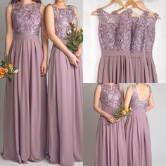 Dusty Mauve Long Bridesmaid Dresses For Wedding With Lace Bodice Backless robe demoiselle d'honneur