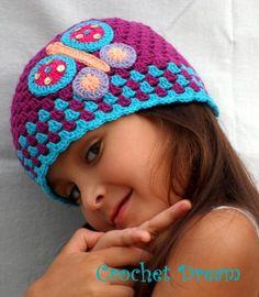 mariposa n 3 , gorro para niña tejido a crochet - artesanum com