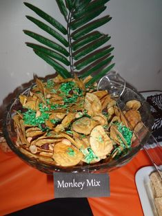 Jungle Safari Birthday Party; Banana Chips, Green Dyed Coconut, Chocolate Chips