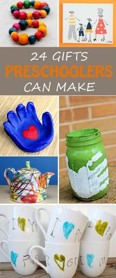 Gifts for kids to make for Christmas, Mother's Day, Father's Day, birthdays, friends or neighbors. Kids as young as toddlers, preschoolers or kindergartners can make these easy gifts. Simple and practical kid-made gifts. | at Non-Toy Gifts