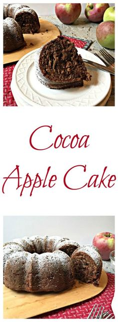 Fresh apples, chocolate and spices make a perfect cocoa apple cake. This is a moist, dense and delicious chocolate cake.