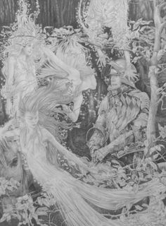 Wood Nymphs - stunning original pencil drawing by Ed Org http://www.shop.obsidianart.co.uk/collections/ed-org