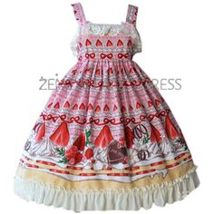 Fashion Womens Pink Vintage Sleeveless Strawberry Printed Sweet Classic Lolita Dress