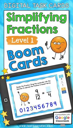 Simplifying Fractions Level 1 Boom Cards™ are a fun way for students to practice reducing fractions to lowest terms. This deck of 30 self-checking, interactive digital task cards is perfect for both classroom use and distance learning! #BoomCards #DigitalTaskCards #DistanceLearning #fractions #mathfun Simplifying Fractions, Teaching Fractions, Teacher Hacks, Best Teacher, Active Engagement, Engage In Learning, Math Task Cards, Fun Math, Read Aloud