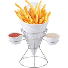 Starfrit Gourmet French Fry & Dip Serving Dish - For Serving French Fries, Vegetable Sticks, Fruit & Snacks Ceramic Parts Are Dishwasher Safe Includes 1 Ceramic French Fry Holder, 2 Ceramic Dip Dishes & 1 Metal Rack Tapas, Vegetable Sticks, Peach Syrup, Good Food, Yummy Food, Fruit Snacks, Kitchen Items, Kitchen Gadgets, Kitchen Products
