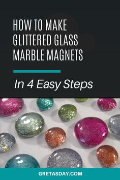 Such a fun and easy craft project that's really affordable too. These glitter glass marbles are budget friendly, and fun for kids or adults. They're also a great craft show or Etsy seller, and a really fun gift, too. Easy Craft Projects, Fun Crafts, Diy And Crafts, Marble Magnets, How To Make Glitter, Quick And Easy Crafts, Glitter Crafts, Amazing Crafts, Glass Marbles