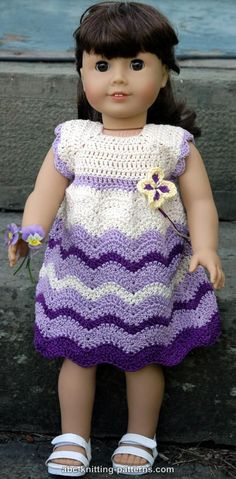 ABC Knitting Patterns - American Girl Doll Wisteria Chevron Dress