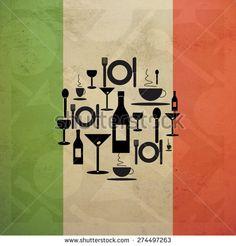 Italian Gastronomy food and drink icons on Italian flag illustration in vintage style #Italia #ristorante #trattoria #gastronomia #cibo #bandiera
