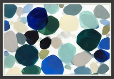 This large-scale abstract wall art has the feeling of stones moving under water in a coastal palette.