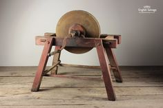 Antique Grindstone with Crank Handle