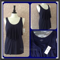 "Selling this ""LOFT Tier Tank Top Navy Blue Medium M New"" in my Poshmark closet! My username is: moomettes. #shopmycloset #poshmark #fashion #shopping #style #forsale #LOFT #Tops"