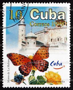 CUBA - CIRCA 1999: a stamp printed in the Cuba shows Antia Numidia, Butterfly, and Morro Castle, Havana Tourist Site, circa 1999 — Photo by Boris15