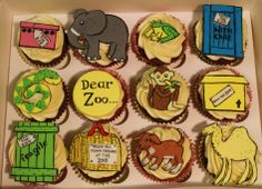 Carrot and chocolate birthday cupcakes based on the childrens flap book 'Dear Zoo' by Rod Campbell Zoo Birthday, Baby Birthday Cakes, Animal Birthday, First Birthday Parties, First Birthdays, Dear Zoo Cake, Dear Zoo Party, Zoo Party Themes, Party Ideas