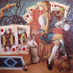 Oh, Wonderland! Artwork By Fran Recacha Oil Painting & Art Prints On Canvas For Sale Lewis Carroll, Adventures In Wonderland, Alice In Wonderland, Canvas Art Prints, Oil On Canvas, Alice Madness, Illustration, Cross Paintings, Through The Looking Glass