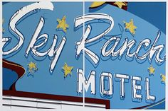 """""""Sky Ranch Motel"""" by Dave Lefner, 2014, Reduction linocut in 11 colors on two sheets, Edition of 8, 30"""" x 45""""; Courtesy of the artist and Skidmore Contemporary Art"""