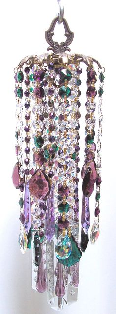 Forest Nymph Vintage Crystal Wind Chime - I could make something like this for my trees
